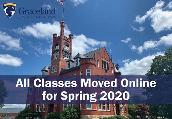 Administration building with overlying text reading: All classes moved online for Spring 2020